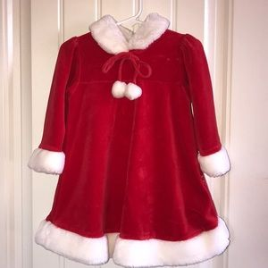 Red Velvety Christmas Dress with Faux Fur Trim
